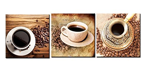 Canvas Print Wall Art Painting For Home Decor Still Life Of A Cup Of Black Coffee And Coffee Beans On Vintage Wooden Table Background 3 Pieces Panel Paintings Modern Giclee Stretched And Framed Artwork The Picture For Living Room Decoration Coffee Pictures Photo Prints On Canvas