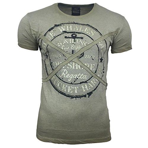 R-NEAL Clubwear Kurzarm Herren Rundhals T-Shirt Washed Optik Shirt RN-16728 NEU, Größe:S, Farbe:Khaki