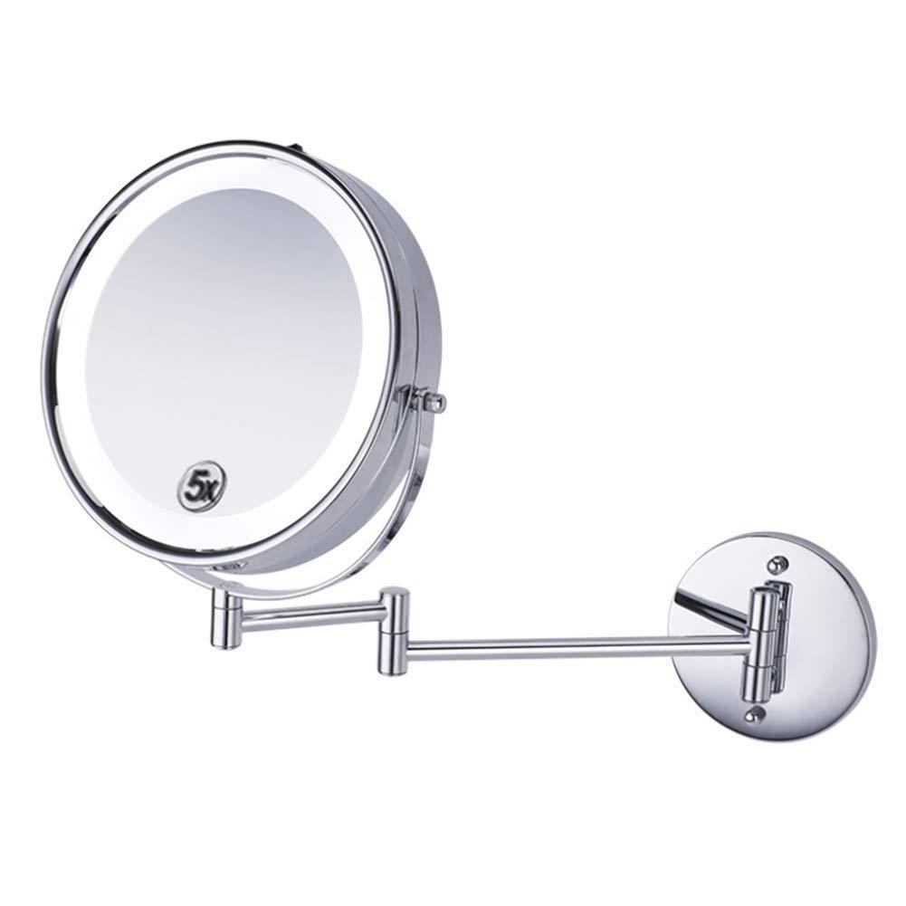 Specchio Cosmetico con Luce A LED A Parete Bilaterale 8.5 Pollici Girevole 360º Estensibile per Vasca Spa E Hotel (Ingrandimento 5X/1X) HMYH Mirror