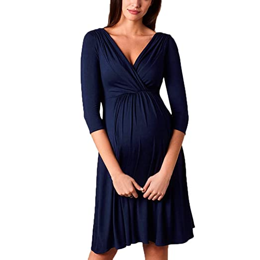 Amazon.com: Sttech1 Women Maternity Breastfeeding Dress Plus ...