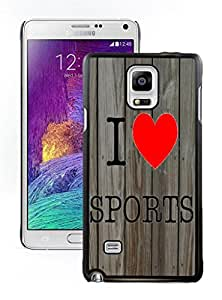New Cute Samsung Galaxy Note 4 Case I Love Sports Pattern Coolest Design Black Cell Phone Case Cover Accessories