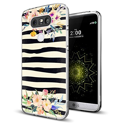 Zebra Case for LG G5,Gifun [Anti-Slide] and [Drop Protection] Soft TPU Premium Flexible Protective Case Compatible with LG G5 - Vintage Colorwater Flowers and Zebra
