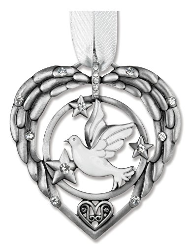 BEREAVEMENT SYMPATHY REMEMBRANCE ORNAMENT WITH DOVE AND ANGELS WINGS