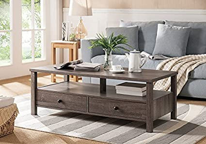 Smart Home Display Deck Living Room Coffee Table (Distressed Gray)