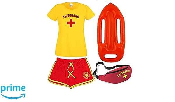 Lifeguardgear - Set de socorrismo para mujer, incluye camiseta, pantalones cortos, flotador y riñonera: Amazon.es: Ropa y accesorios