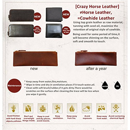 Mens Leather Travel Duffel Bag Brown Weekend Wheeled Carry ON Luggage Bags by Huntvp (Image #6)