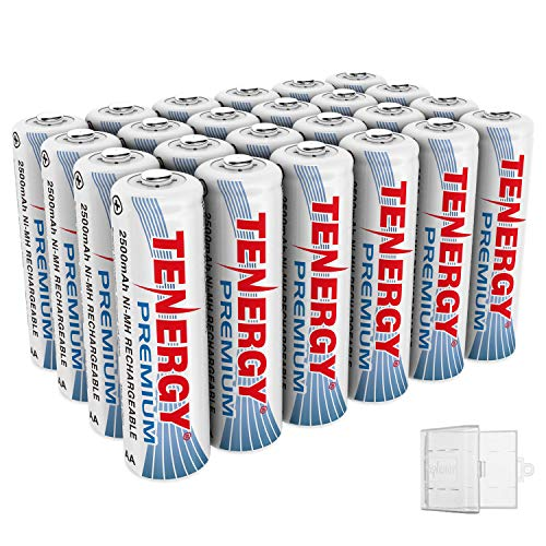 - Tenergy 24 Pack Premium Rechargeable AA Batteries, High Capacity 2500mAh NiMH AA Battery, AA Cell Battery with 6 AA Holders