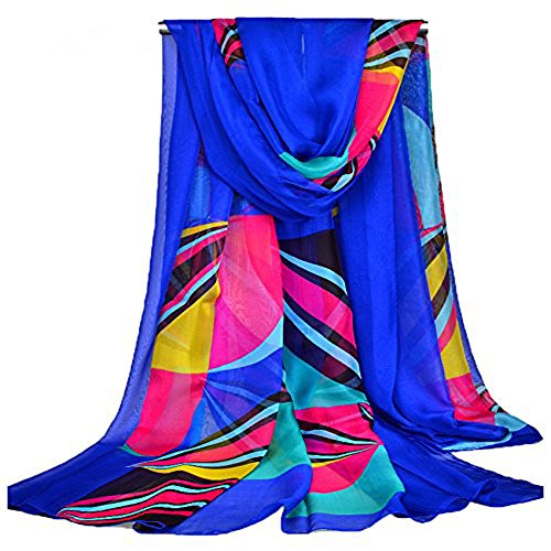 Topseller Sexy Womens Chiffon Bikini Summer Beach Swimwear Sarong Wrap Cover Dress Scarf Pareo (Blue)