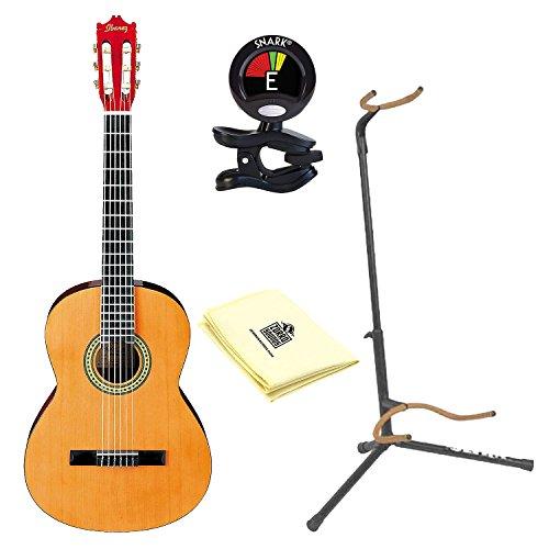 Ibanez GA3 Nylon String Acoustic Guitar Natural With Kaces KQA-120 - Kaces GigPak Acoustic Guitar Bag, Ultra 2445BK Basic Guitar Stand, Snark SN5X Clip-On Tuner And Custom Designed Instrument Cloth