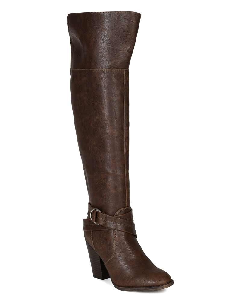 Women Leatherette Strap Ring Buckle Chunky Heel Knee High Boot BG33 - Brown (Size: 6.0)