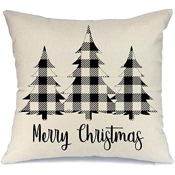 AENEY Christmas Plaid Pillow Cover 18x18 inch for Farmhouse Christmas Decor Black Buffalo Check Throw Pillow Buffalo Plaid Christmas Decorations Throw Pillow Cover