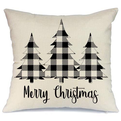AENEY Christmas Plaid Pillow Cover 18x18 inch for Farmhouse Christmas Decor Black Buffalo Check Throw Pillow Buffalo Plaid Christmas Decorations Throw Pillow Cover (Decorations Cheap Tree Dollar Christmas)