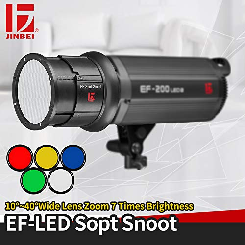 JINBEI EF-LED Aluminium Alloy Photo Conical Studio Spot Snoot with Gel Filters Set for Bowens Mount Strobe Monolight Photography Flash Compatiable with JINBEI EF Series Led Video Light
