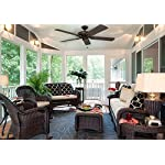 """Honeywell Belmar 52"""" Outdoor Ceiling Fan 13 QUALITY DESIGN: Features a bronze finish and 5 ETL damp rated fan blades. Perfect for outdoor patios, workshops, breezeways, gazebos, pergolas and other outdoor spaces. EASY CONTROLS: Traditional pull chains included for easy """"on and off"""" adjustments but this fan is also compatible with Honeywell ceiling fan remotes. QUIET REVERSIBLE MOTOR: Conveniently quiet, 3 speed, reversible motor that can be run in reverse in the winter to aid in rotating the warm air in the room."""