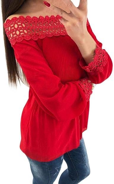 Blusa De Manga Larga De Moda para Encaje Camisa De Mujer Elegante ...