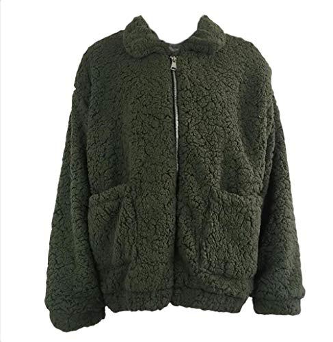 Automne Laineux Vert Outerwear Mode Longues Chic Elégante Manteau Warm Loisir Épaisseur Manches Blouson Femme Col Debout Plush Hiver Large Coat Jacken wA8XqR4