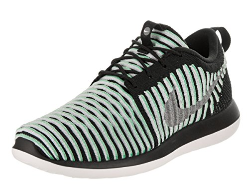 Nike Kids Roshe Two Flyknit (GS) Green Glow/Metallic Silver Running Shoe 5.5 Kids US by NIKE