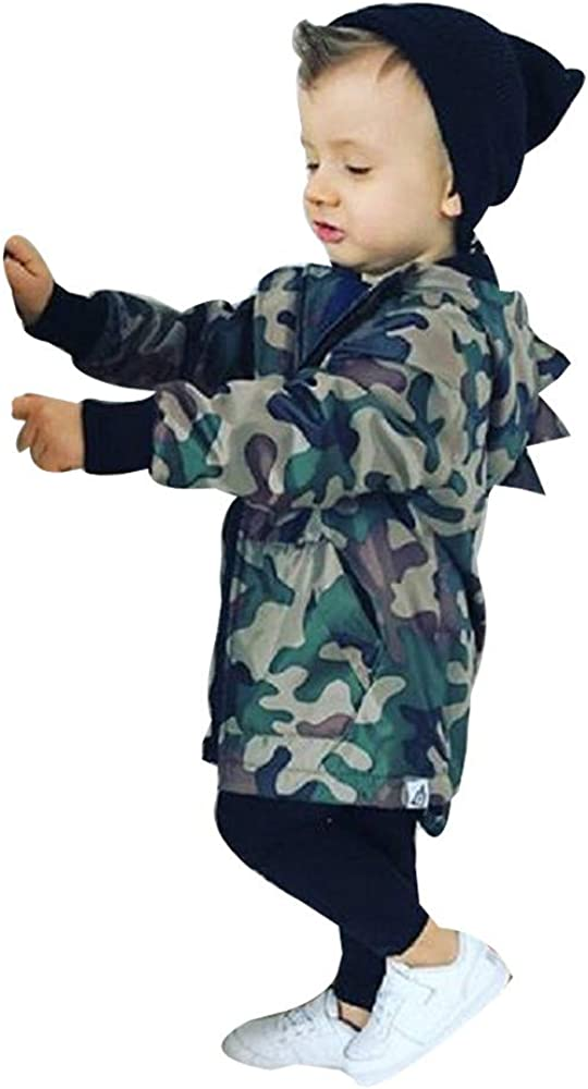 Hotsellhome New Cute Kids Baby Boys Girls Dinosaur Camouflage Hooded Windbreaker Tops Coat Jacket Clothes for 0-4 Years
