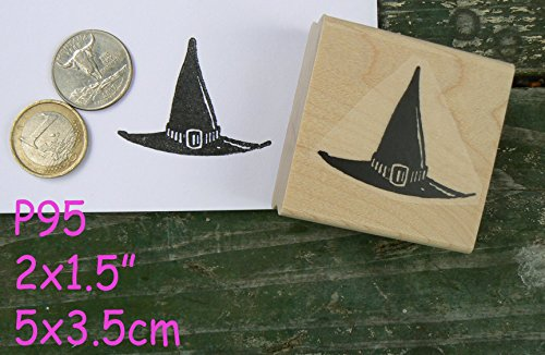 P95 Halloween witches hat rubber stamp]()