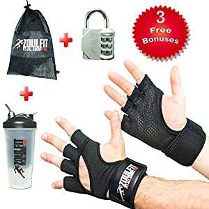ZoulFit Cross Training Unisex Gym Gloves W/Wrist Wraps. Full Palm Protection & Extra Grip. For WODs, Weightlifting, Powerlifting, and Training. FREE BONUS Mesh Bag, Shaker Protain & Locker Lock