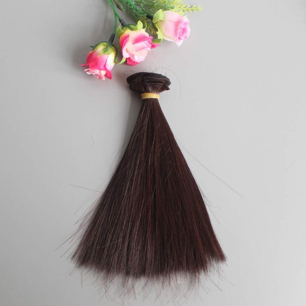Vimbhzlvigour Beauty Perruque de cheveux raides en fibre synth/étique pour poup/ée BJD SD 15 cm