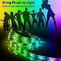 12V LED Strip Lights Sync To Beats of Music,Geekeep Music Reactive LED Light Strip 300 LED Lights SMD 5050 Waterproof Flexible RGB Strip Lights 360 Degrees Music Sensing Receiver (16.4ft/5M )
