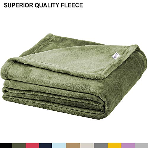 Soft Fleece Throw Blanket - Plush Blanket for Bed or Couch - Fuzzy Flannel Blanket for Bedroom, Living Room and Travel - Olive, Twin Blanket by Blissford (Throw Olive)