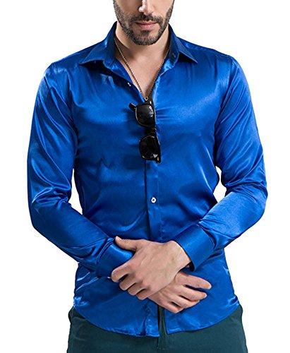 69829c18d934 DD UP Herren Seide Freizeit Hemd Slim Fit Baumwolle Solid Color Tanz  Abschlussball-Kleid Langarm Hemden  Amazon.de  Bekleidung