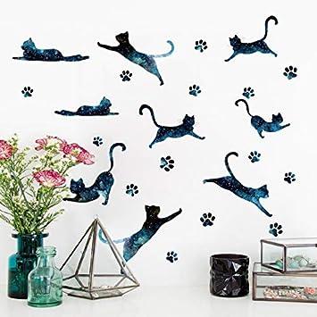 Universo Gato Pegatinas de Pared Azul Gato Huella Diy Arte de La ...