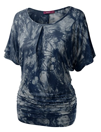 Doublju Womens Short Sleeve Tie-Dye Batwing Dolman Top Wth Ruched Sides BLUEGRAY 2XL