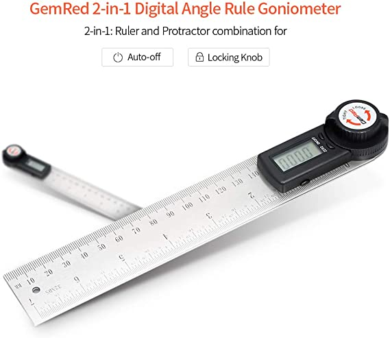 KKmoon 2-in-1 Digital Angle Rule Goniometer Angle Gauge Stainless Steel Angle Finder Clinometer Digital Display Angle Ruler in 200mm Length