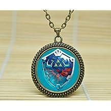 SunShine Day Fashion Necklace Hylian Shield Necklace Legend Of Zelda Inspired Pendantglass Cabochon Necklace A3743