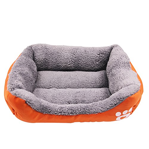 Dogs & Cats Bed, Paw Printing Cotton Velvet Padded Warm Pet Bed with Waterproof Bottom ()