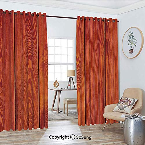 Blackout Window Curtains,Wood Texture with Natural Patterns Oak Timber Tree Floor Decorative Design Home Decorative Living Room Bedroom Thermal Insulated Window Drapes 2 Panel Set, 54