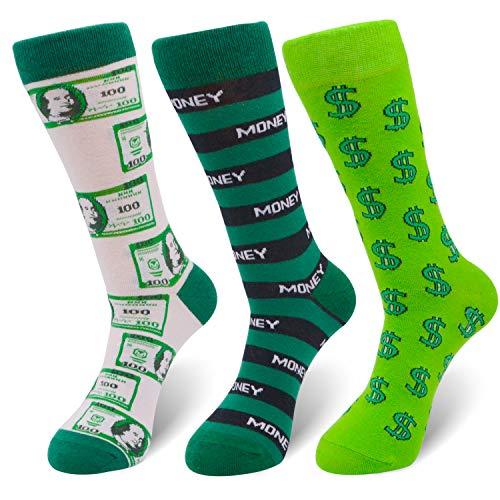 (Men's Novelty Crazy Money Crew Sneaker Funny Athletic Geek Basketball Socks 3pp)