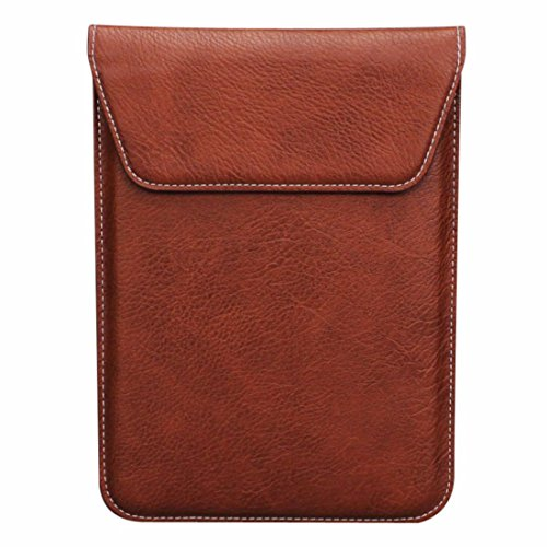 aubaddy Double Pouch Leather Sleeve Bag Slim Travel Case for iPad Mini / Mini 2 / Mini 3 / Mini 4 (Brown)
