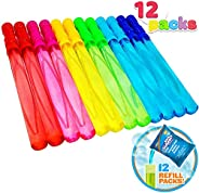 Joyin Toy 12 Pack 14'' Big Bubble Wand Assortment (1 Dozen) with Bubble Refill Solution - Super Value Pack of
