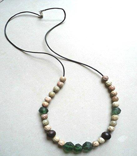 - Earthtone necklace, boho necklace, leather beaded necklace, green and beige necklace, bohemian necklace, ethnic necklace, rustic necklace