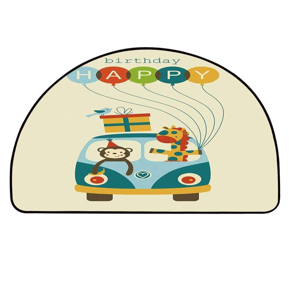 YOLIYANA Birthday Decorations for Kids Semi Circle Mat,Blue Hippie Bus with Monkeys Giraffes Balloons Surprise Box Carpet Indoor Mat,33.4'' H x 66.9'' L