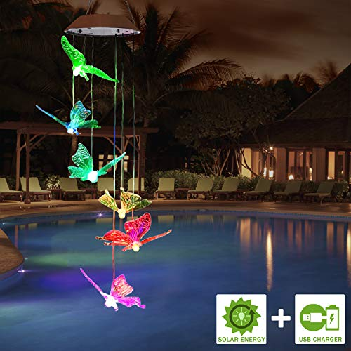 FC-Fancier Solar Wind Chimes, [2019 Upgrade] Charging by USB and Solar Energy Solar Color-Changing Solar LED, Mobile Wind Chime,LED Waterproof Wind Chimes for Home/Party/Night/Garden/Festival Decor/