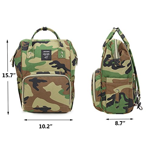 Fuyao camuflaje mochila para pañales cuidado del bebé pañales bolso cambiador con gran capacidad mochila para madres y padres, bolsa de viaje. camo green camo green