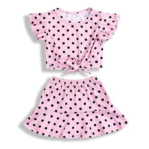 Toddler Baby Girls Summer Clothes Sets Polka Dot Ruffled Short Sleeve Skirt Set 2Pcs (Pink, 2-3T)