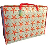 Extra Large storage bag 115 litres. Red Starfish pattern. Toys, washing and laundry bag by The Pescara Collection