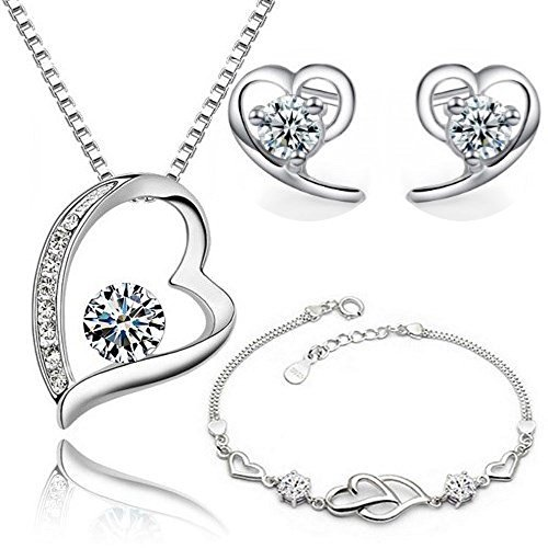 Imitation Necklace Earrings Bracelet (Heart Set with White Zirconia Crystals Pendant Necklace 18