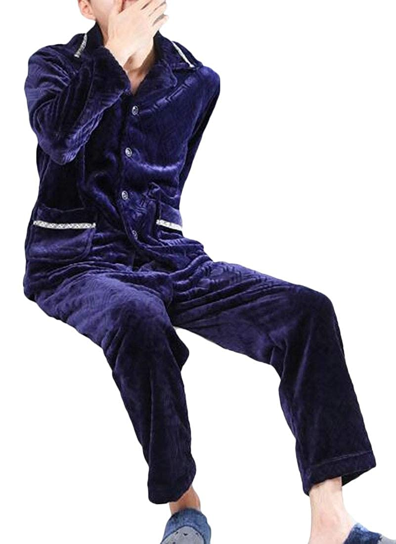 WSPLYSPJY Mens Winter Fleece Pajamas Quilted Button-Down Pj Set