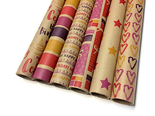 (Kraft Multi Color Wrapping Paper Set - 6 Rolls - 6 Birthday Patterns - 30
