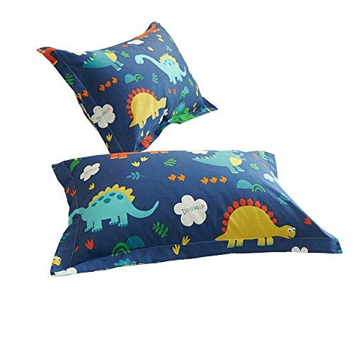"HIGHBUY 100% Cotton Blue Dinosaur Print Pillowcases Set (2pcs, 20""×26"") for Boys Girls Kids Queen Decorative Pillow Cover,Set of 2,Standard,Envelope Closure (Standard Pillowcase, HBZT01-I)"