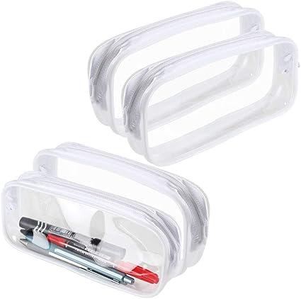 AILANDA Estuche para lápices 4 pcs Bolsa de Lápices con Cremallera de PVC Bolsa de almacenamiento transparente Portátil Bolsa de Maquillaje Papeleria estudiantil: Amazon.es: Oficina y papelería