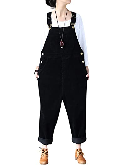 0980a26fc1c Mrs Duberess Women s Casual Plus Size Pants Rompers Overalls Leisure  Corduroy Jumpsuit with Pockets (S-M