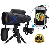 Monocular Telescope, 12X50 High Powered Monocular Scope for Adults with Long Tripod and Smartphone Adapter,Waterproof Fog HD BAK4 Prism FMC Lens, Portable Monocular for Bird Watching/Wildlife/Travel